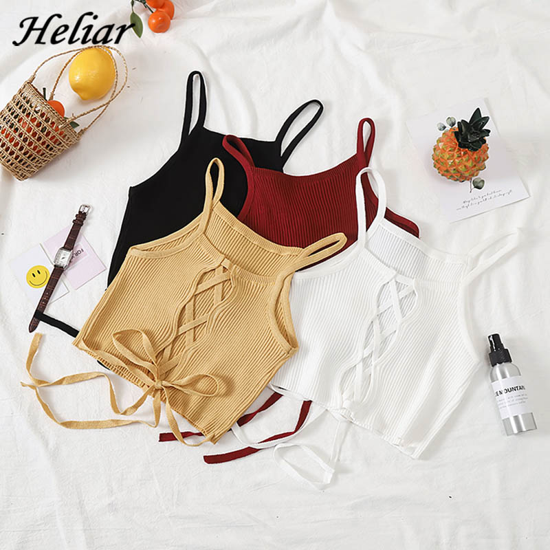 HELIAR Women Camisole Knitted Sexy Spaghetti Club Camis Halter Skinny   Tank     Top   Female Bare Midriff Solid Crop   Top   2020 Summer