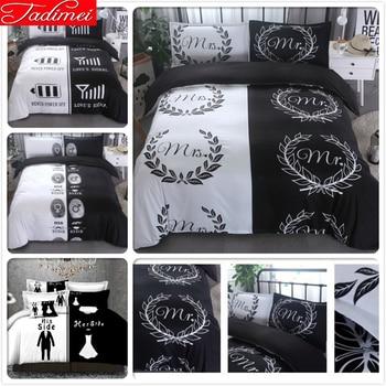 Lover Couple Adult Creative Mr Mis Black White Quilt Comforter Duvet Cover Bedding Set Soft Bed Linen Queen King Size Bedspreads