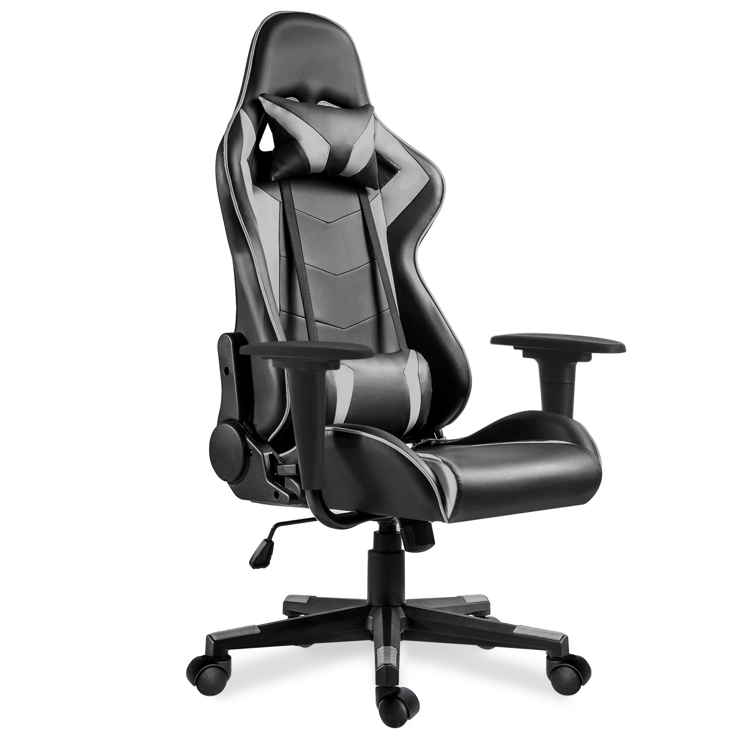 Quality Grey Office Boss Chair Ergonomic Computer Gaming Chair Internet Cafe Seat Household Reclining Chair PU Leather Chair