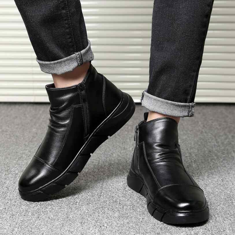 JX813 männer schuhe designer Echtem Leder 100% Lammfell Wolle Pelz Gefüttert Kurze Winter Stiefel männer Ankle Schnee Stiefel Schuhe stiefel für