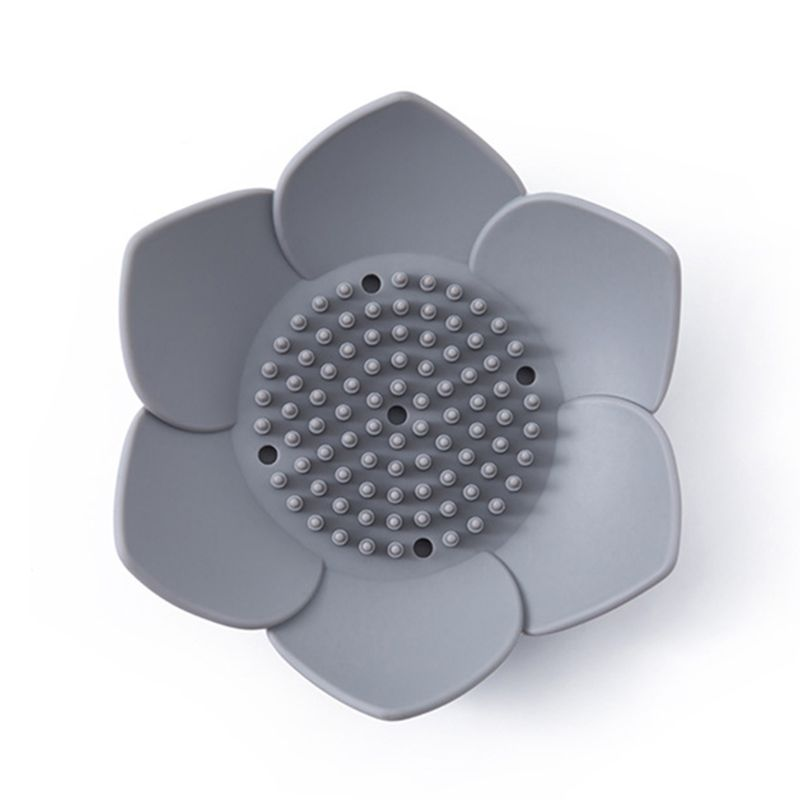 Flexible Silicone Bathroom Shower Soap Box Dish Storage Plate Tray Drain Holder Flower Soapbox X7YD