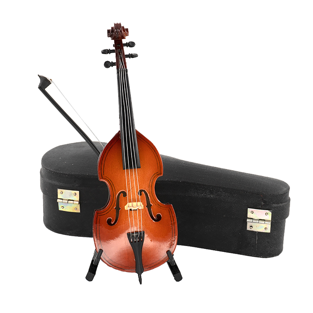 1Pcs Wooden Miniature Cello Model With Support Case Mini Musical Instrument 1/12 Dollhouse 1/6 Action Figure Accessories Ob11