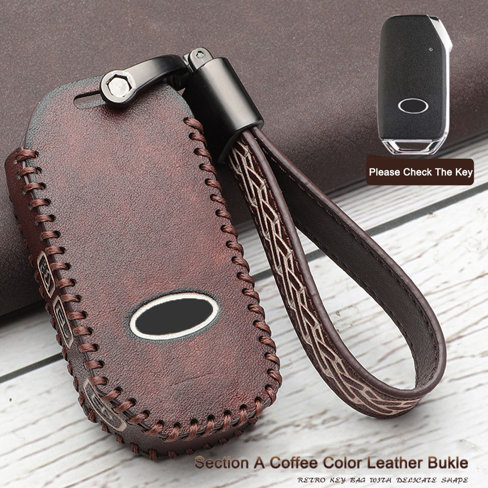 4 Buttons Fit For KIA Sportage 2018 2019 High Quality Leather Key Cover Case Key Fob Key Housekeeper Car Styling