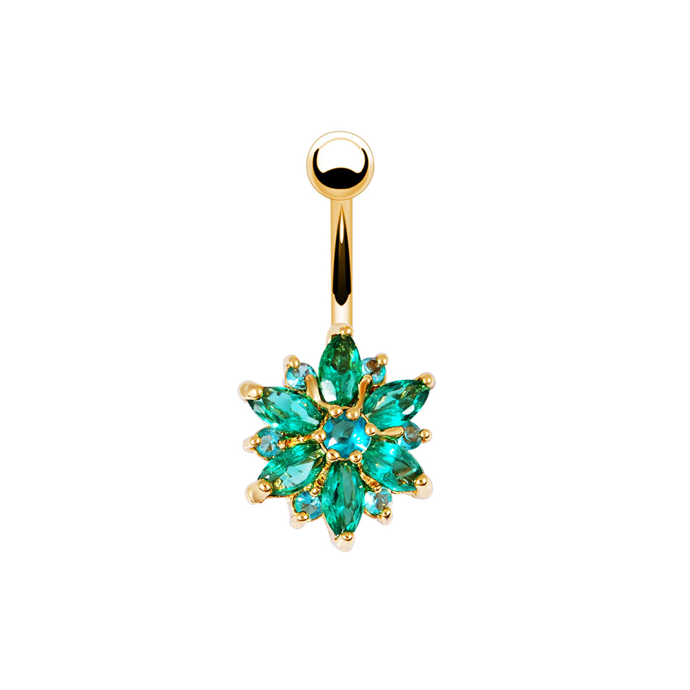 He8791d6677dd4eb68ae3920e9113b88cN Navel Piercing Body Jewelry Crystal Flower Belly Button Ring