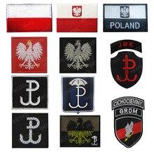 Polónia bandeira bordado remendos polonês águia exército remendos militares tático emblema aplique crânio bordado emblemas bandeiras