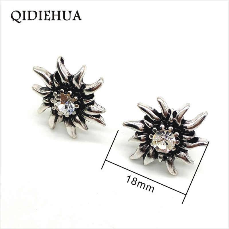 QIDIEHUA 2019 Cute Romantic Multicolor Crystal Flower Drop Earrings For Women Vintage Tibetan Silver Edelweiss Earrings Gifts