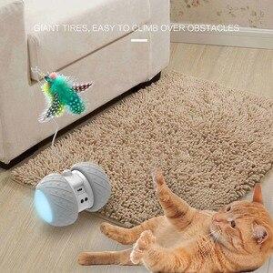 Image 4 - スマート電子猫のおもちゃインタラクティブ自動回転ランニングledティーザーペット猫ファニー玩具猫スティック羽のおもちゃusb