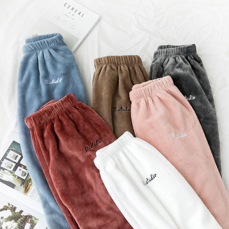 Autumn Warm Pants Women Coral Velvet Loose Beams Elastic Waist Straight Casual Harem Pants Winter Letter Embroidery Trousers