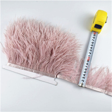 Wholesale 5-10meters Leather Pink Ostrich Feather Trims skirt ribbon Wide/8-10cm Feathers for Crafts Wedding Decoration