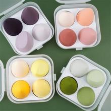 4 pièces maquillage mélangeur cosmétique bouffée maquillage éponge avec boîte de rangement fond de teint poudre éponge beauté outils femmes maquillage accessoires