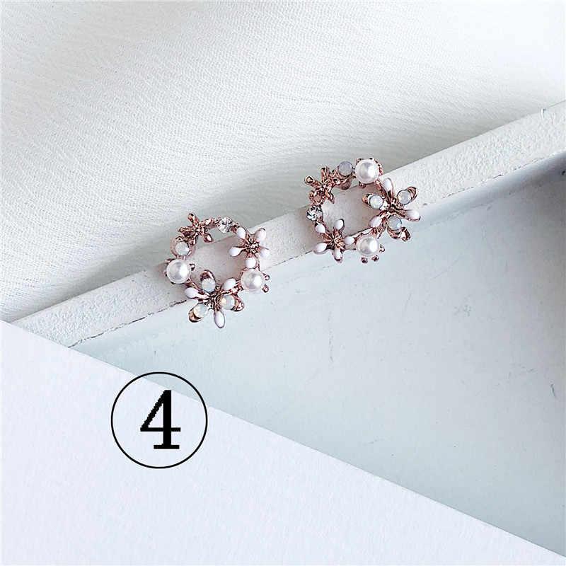 2019 האחרון עיצוב מותג אוזן טבעת צבע פרח עגילי נקבה פשוט עגילים לנשים