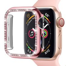 38mm 42mm Watch Case For Apple Watch 40mm 44mm PC Plated Women Bumper Cover with Bling Diamond Crystal For iWatch Series 4 3 2 1 цена