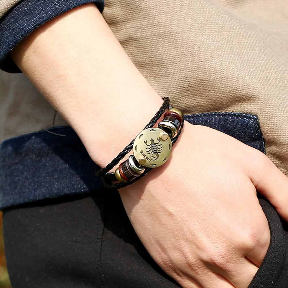 2Pcs 12 Zodiac Sign Horoscope Men's Leather Bracelet Vintage Retro Charm Wristband Male Jewelry Gifts for Men Leo Cancer Aries