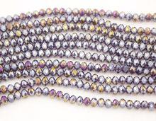 1000 шт 4x6 мм резные ab фиолетовые круглые стеклянные бусины