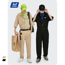INFLATION Harajuku Overalls With Belt Men Japanese Streetwear 2021 New Loose Fit Jumpsuit Men Hip Hop Overalls 3671S21