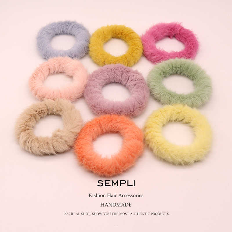 Sempli 9 Colors Basic Wool gumki do wlosow Elastic Hair Bands For Women's Hair Rubber Bands Girls Hair Accessories Headband
