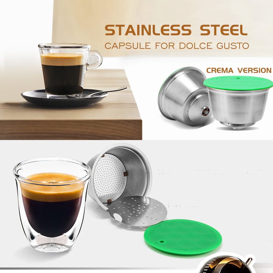 Stainless Steel Refillable Capsule Cup Compatible For Dolce Gusto Coffee Reusable Filter Eco-Friendly Food Grade Coffee Filter