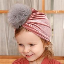 Toddler Kids Baby Headband Cotton Knot Turban  Pleuche Raccoon Fur Beanie Girl Headwear Hat