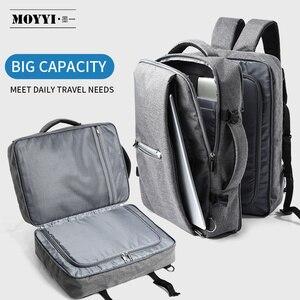 Image 1 - MOYYI iş seyahat çift bölmeli sırt çantaları ile çok katmanlı benzersiz dijital çanta 15.6 inç dizüstü bilgisayar için erkek sırt çantası