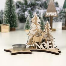 Christmas Wooden Painted DIY Candlestick Home Decorations Party Candle Holder Elk Santa Claus Xmas Tree Ornaments Gift