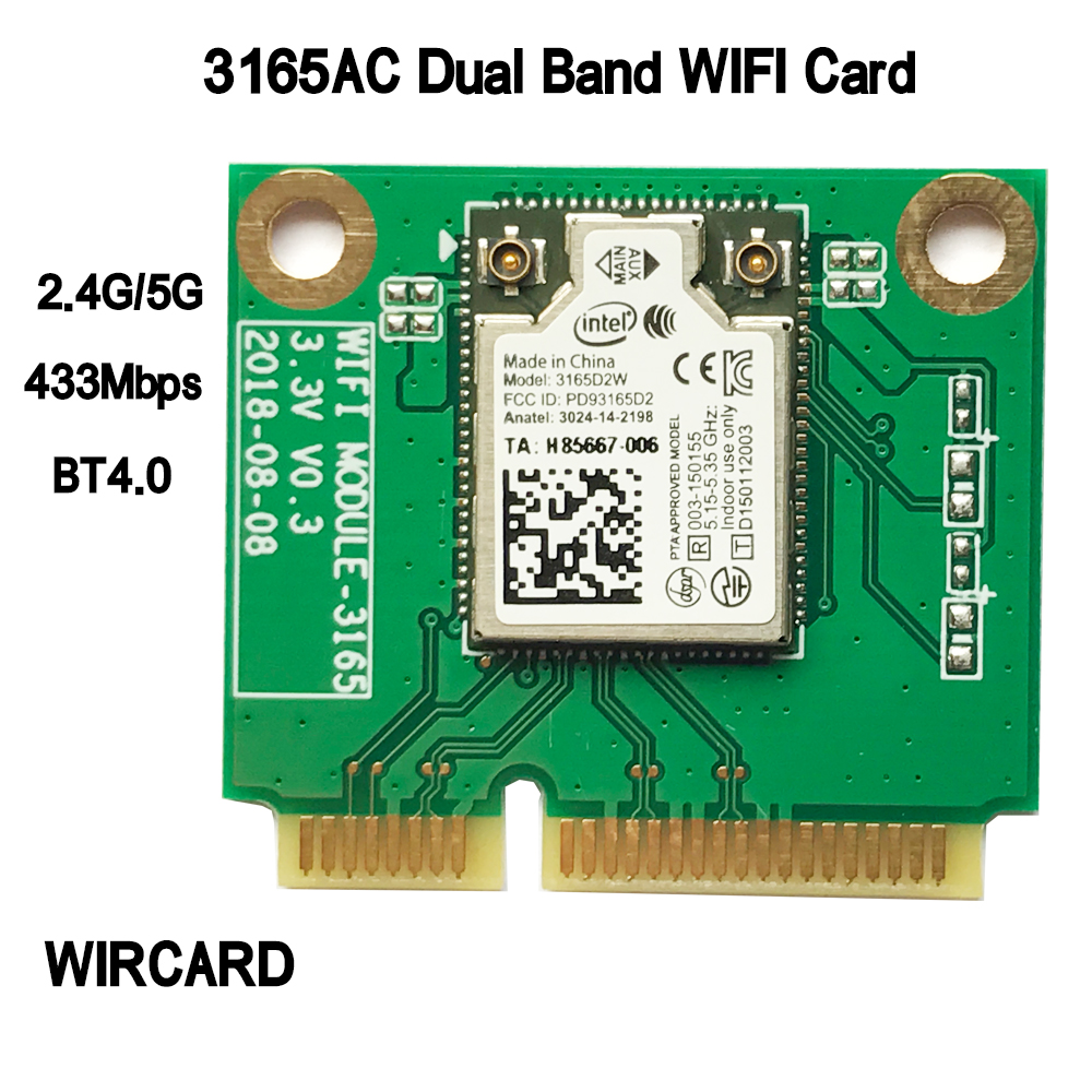 WIRCARD Dual Band intel <font><b>3165NGW</b></font> Intel 3165AC mini PCI- 802.11ac WiFi WLAN Card 433Mbps 2.4G / 5Ghz Bluetooth 4,0 Windows image