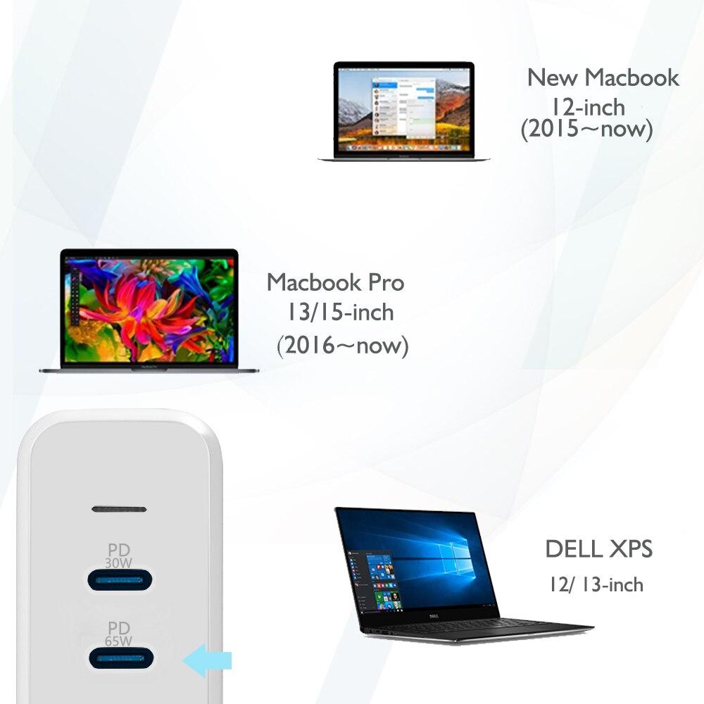 USB C 65W + 30W & 2 USB A port Reise Ladegerät Adapter mit Typ C PD Für Macbook xiaoMi HP Dell XPS iPhone 11 pro und mehr - 2