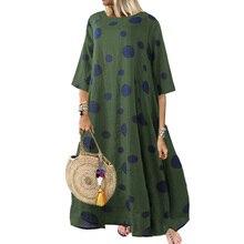 Vintage Dress Women Autumn Plus Size 5XL Elegant Casual Loose Dot Print O-Neck Flare Long Sleeve Clothes 2019 New