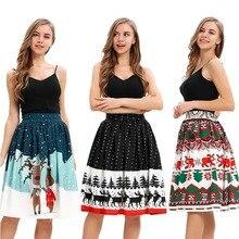 Короткая юбка с изображением снежного лося и Санта-Клауса для девочек на Рождество, карнавальные вечерние винтажные расклешенные юбки для женщин