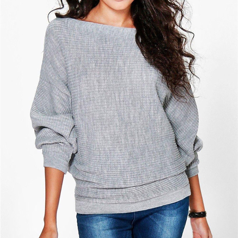 Autumn New Solid Color Women Sweatshirt Fashion Batwing Long Sleeve Pullovers O Neck Casual Bottoming Shirt Female Sweatshirts in Hoodies amp Sweatshirts from Women 39 s Clothing