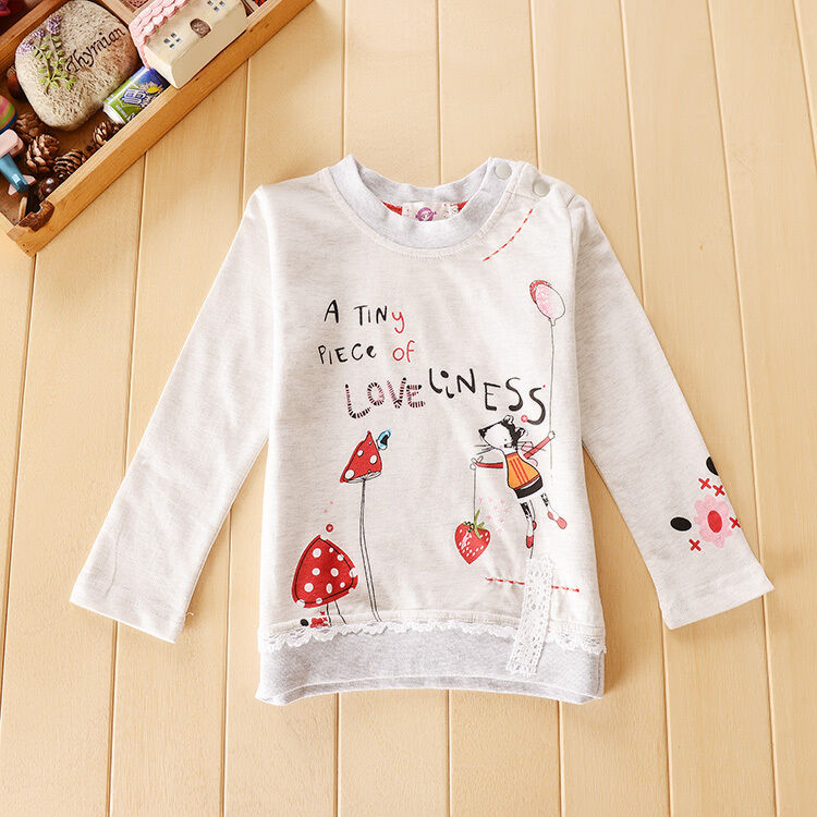 Girls Cartoon Printed Long Sleeve Sweater + Jeans (3T-7)