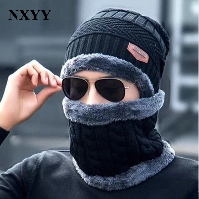 NXYY 2pc Scarf Set Skullies Beanies Caps Winter Keep Warm Knitted Hat Mens Collar Warm Wool Fleece Ski Cap + Neckerchief Scarves