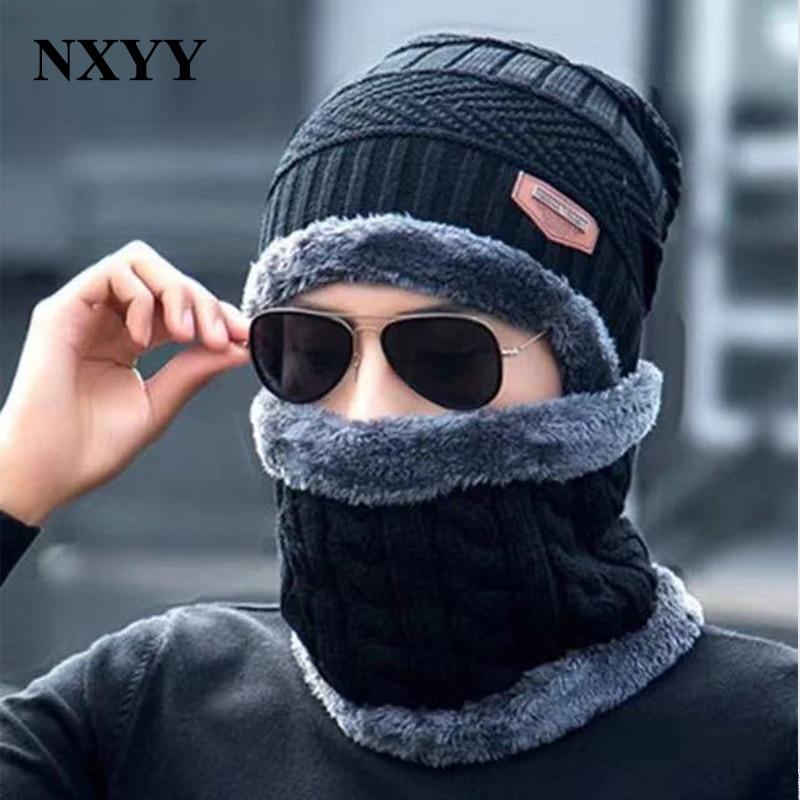 NXYY 2pc Winter Warm Knitted Hat Scarf Set Skullies  Beanies Caps  Fashion Collar Warm Wool Fleece Ski Cap + Neckerchief Scarves