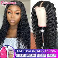 Deep Wave-pelucas de cabello humano con encaje frontal para mujeres negras, peluca de cierre de 30 pulgadas, 4x4, pelo suelto brasileño, de color negro