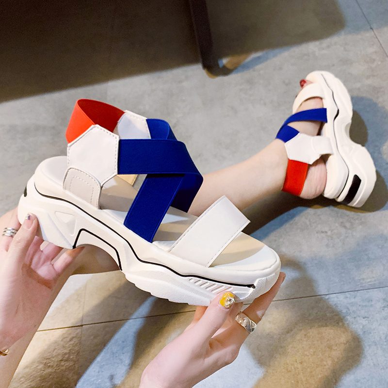 Casual Candy Colors Stretch Fabric Platform Wedge Sandals Women Shoes Summer Hollow Open Toe Sport Sandals Women Beach Shoes