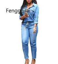 FENGGUILAI Vintage Plus Size Jeans Jumpsuit Turn Down Collar Long Sleeve Bandage Denim Rompers Women Bodysuits Combinaison S-3XL