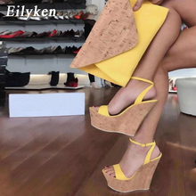 EilyKen 2020 Fashion Ladies High Heels Ankle Buckle Strap Wedge Platform Sandals
