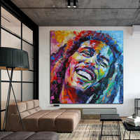 RELIABLI Art Watercolor Famous Bob Marley Portrait Posters Canvas Painting Wall Art Pictures For Living Room Bedroom NO FRAME