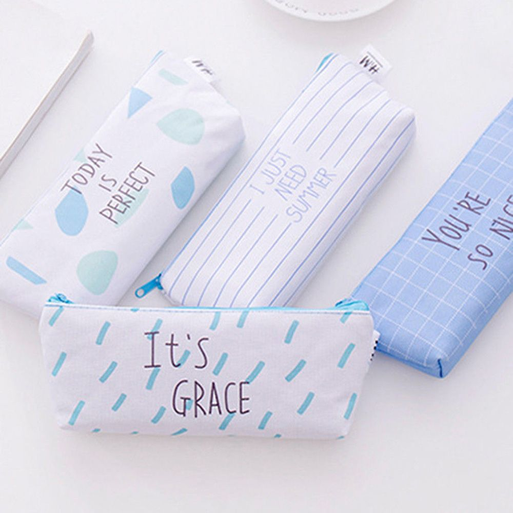 Fresh Ocean Blue Letter Style Canvas Pen Pencil Case Storage Student Storage Stationery School Office Suppliers Gifts For Kids