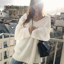 2019 winter womens long sweater solid color casual pullover basic V-neck knit women