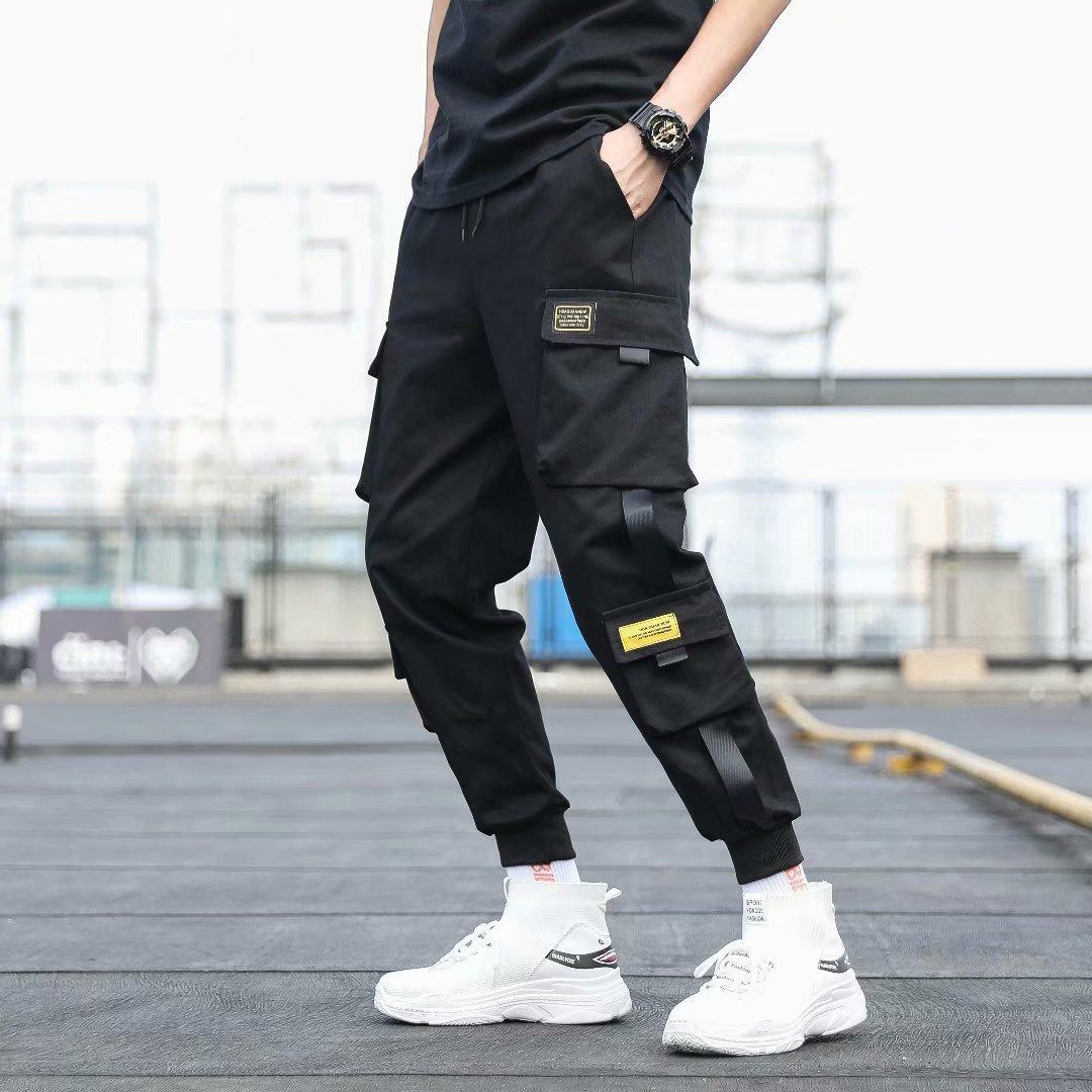 Мужские брюки-карго с боковыми карманами, черные повседневные мужские джоггеры с лентами 2021 в стиле хип-хоп, брюки, модная повседневная Улич...
