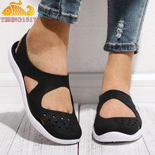 Summer Women Sandals Soft Flat Slip On Female Casual Jelly Shoes Girl Sandals Hollow Out Mesh Flats Beach Footwear New(China)