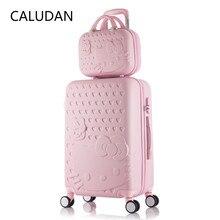 2 unids/set hermosa bolsa de cosméticos hello Kitty de 14 pulgadas 20 24 28 pulgadas estudiantes maleta de viaje una mujer maleta rodante