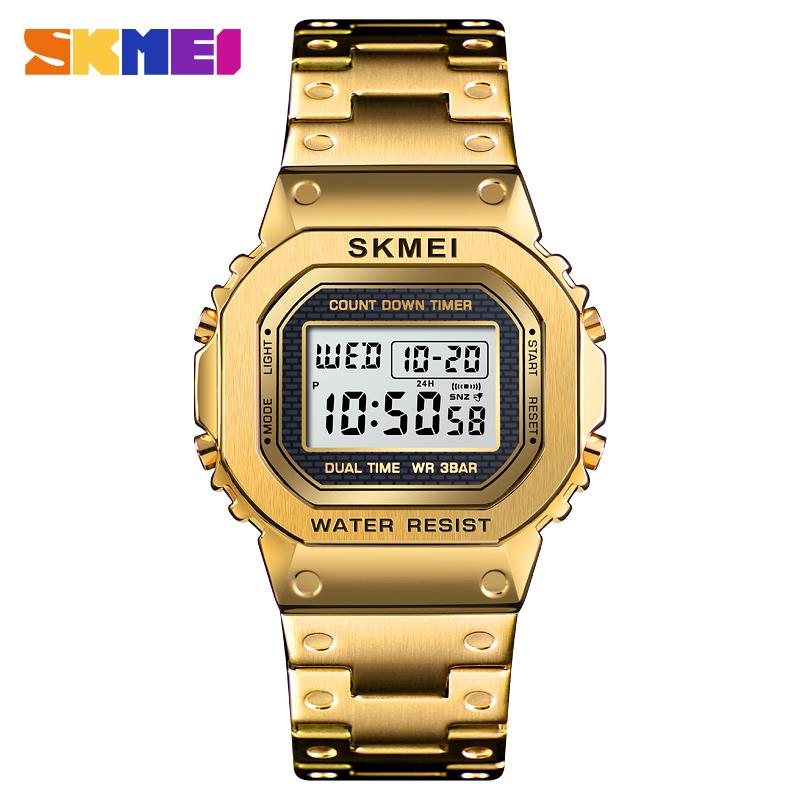 <font><b>SKMEI</b></font> <font><b>1456</b></font> Fashion Sport Men Digital Watches 3Bar Waterpoof Chronograph Clock Stainless Steel Strap Men Watches Reloj Hombre image