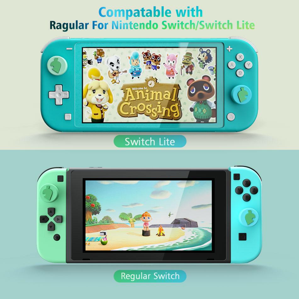 Animal Crossing Green Leaf Thumb Stick Grips Cap Joystick Case Skin For Nintendo Switch Lite Joy Con Gamepad