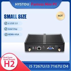 Protable Intel Core i3 7167U i5 7267U Fanless Mini Gaming PC Windows 10 VGA Office Nettop Computer i5 5200U Thin Client TV BOX