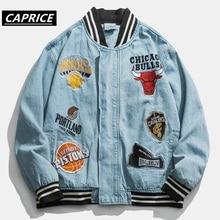 Hip Hop Men Embroidery bomber jacket Jacket 2019 Zipper Pilot Coats Fashion Streetwear Classic men jeans jacket tops blue zipper quilted pilot jacket