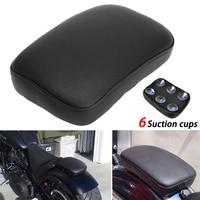 Almofada traseira preta do assento passageiro pillion 6 ventosas para harley motocicleta