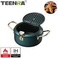TEENRA Japanese Style Tempura Fryer Pan Stainless Steel Deep Frying Pot Temperature Control Fried Chicken Pot Kitchen Utensils