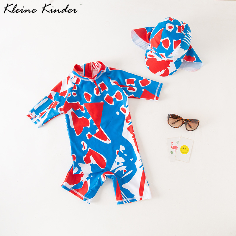Swimsuit Baby Boy UV Protection Children's Bathing Suit One Piece With Cap 2020 Summer Printed Kids Swimwear For Boys Beach Wear