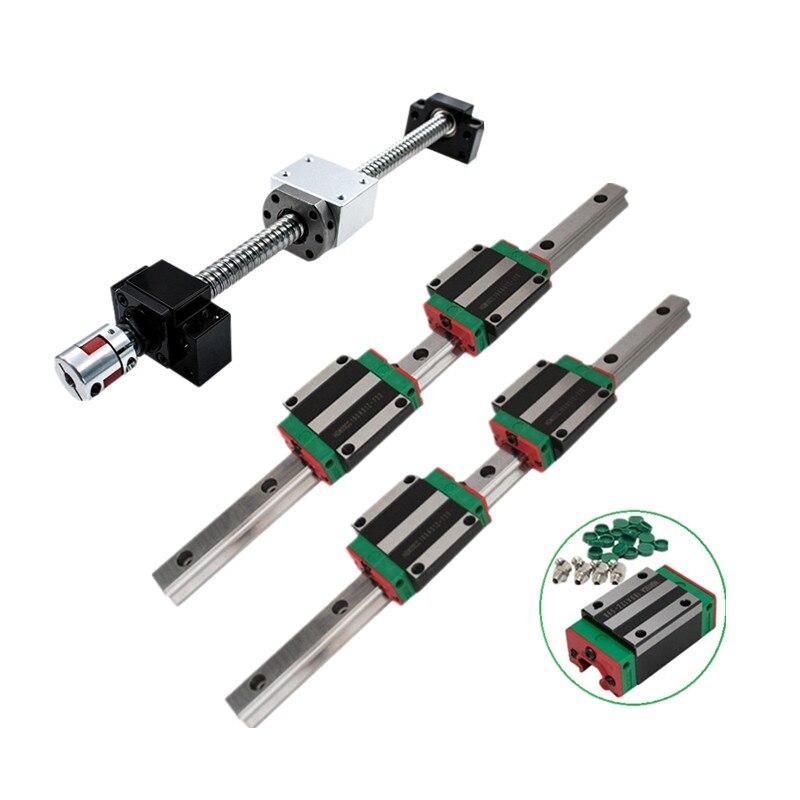 Kit de CNC 2 pièces HGH30 + 1 ensemble SFU3210 + BKBF25 + 4 HGH30CA/hgw30cc guide linéaire assemblage élevé charge carrée vis à billes mouvement linéaire
